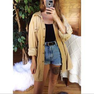 🌿 Vintage Cozy Tan Corduroy Boyfriend Flannel 🌿